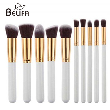 10pcs makeup brush set with white handle