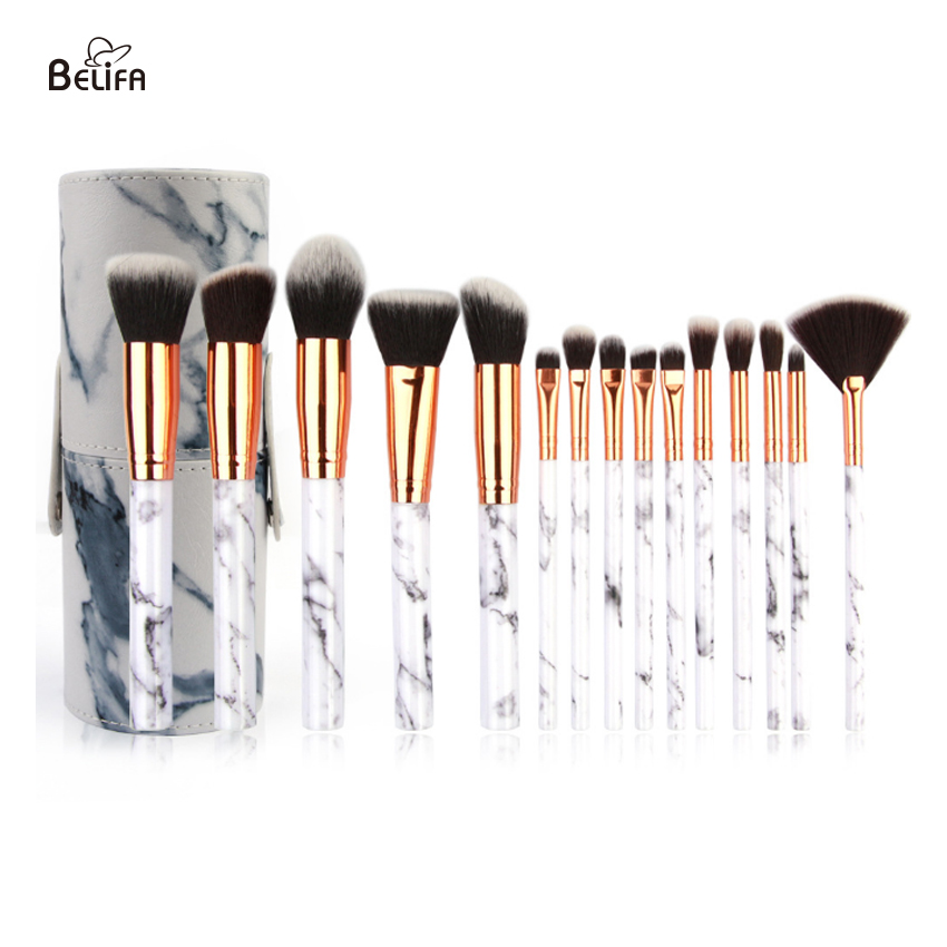 15 piece marble makeup brush se